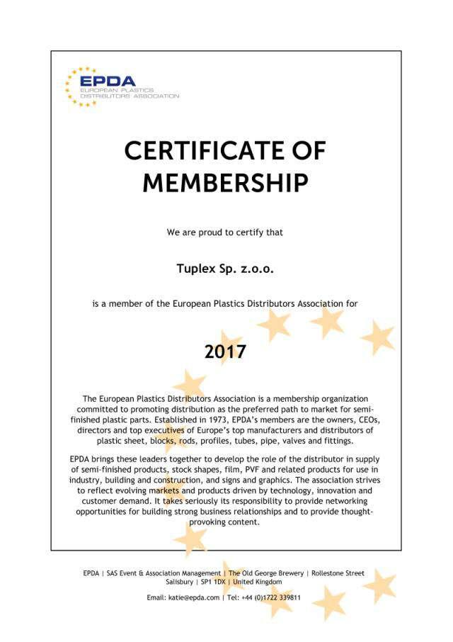 Сертификат EPDA